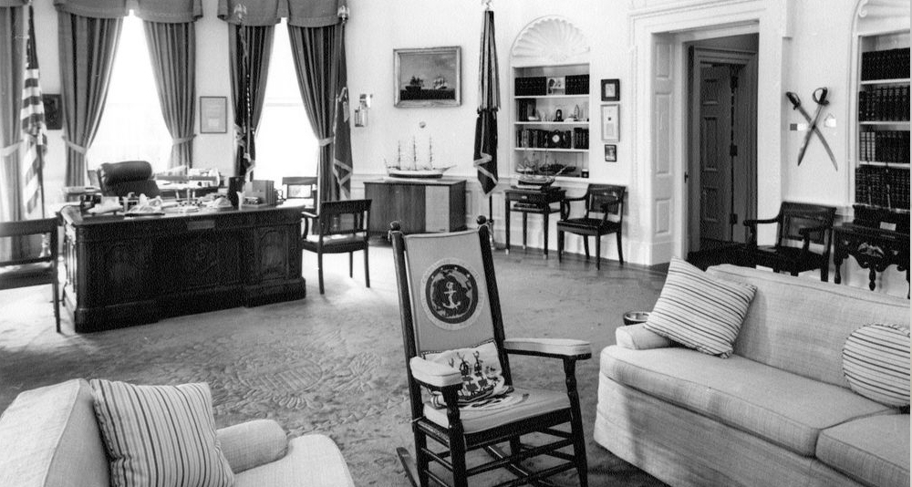 PRESIDENT KENNEDY'S ROCKING CHAIR AND DESK